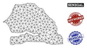 Poligonalnej sieci siatki Wektorowa mapa Senegal i sieci Grunge znaczki ilustracji