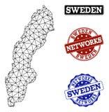 Poligonalnej sieci siatki Wektorowa mapa Szwecja i sieci Grunge znaczki royalty ilustracja
