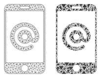 Poligonalny drut ramy siatki Smartphone adres i mozaiki ikona ilustracja wektor
