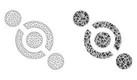 Poligonalny drut ramy siatki złącza włącznik i mozaiki ikona ilustracja wektor
