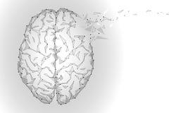 Poligonalny ludzki mózg Biały szary gradient łączyć kropki pamiętają pomysłu pojęcie Futurystyczna projekta tła ilustracja ilustracji