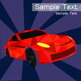 Poligonalny retro samochód na purpurowym tle Geometryczny styl , wektorowy projekt Zdjęcia Stock