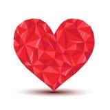 Poligonalny rubinowy serce z odbiciem i cieniem Obrazy Stock