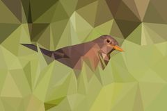 Poligonalny stylowy brown ptak w zielonej trawie zdjęcia stock