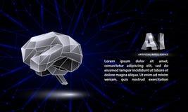 Poligonalny sztucznej inteligenci konceptualny sztandar z niskim poli- mózg i AI symbolami ilustracji