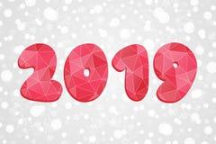2019 poligonalnych symboli/lów Szczęśliwego nowego roku trójboka abstrakcjonistyczna ilustracja Święta tła odizolowanych płatki ś Zdjęcie Royalty Free