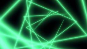 Poligoni al neon astratti nello spazio nero Linee dei laser che si muovono in un cerchio illustrazione di stock