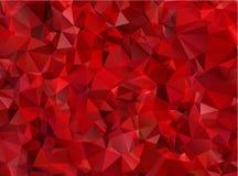 Poligono astratto rosso del fondo del granato immagine stock