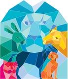 Poligono basso della capra di Lion Rabbit Cat Horse Dog Fotografie Stock Libere da Diritti
