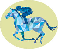 Poligono basso di Horse Racing Oval della puleggia tenditrice Fotografie Stock