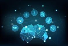 Poligono del cervello che emette luce nel infograph delle icone della rete sociale di affari illustrazione vettoriale