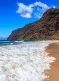 Polihale Beach. Beginning  of the Napali Coast at Polihale State Park in Kauai, Hawaii Islands Stock Image