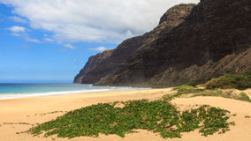 Polihale State Park. View of the Napali coast from Polihale beach in Kauai, Hawaii Islands Stock Photos