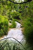Polilimnio Wasserfall, Peloponnes, Griechenland stockfotos