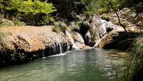 Polilimnio waterfalls Greece stock video