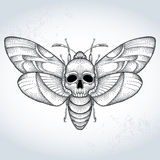 Polilla de halcón de la cabeza de muerte o atropos del Acherontia en estilo punteado en el fondo texturizado Imagenes de archivo