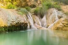 Polimnio waterfalls in Greece. A touristic destination. Polimnio waterfalls in Greece. A touristic destination Royalty Free Stock Image