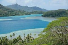 Polinesia francese del paesaggio dell'isola di Huahine Fotografie Stock Libere da Diritti