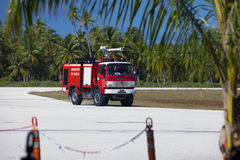 POLINESIA- JUNE 16: Fire-engine on a take-off field of small tropical island  Tikehau on june 16, 2011 in Polynesia Stock Photography