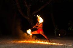 Polinezyjczyka pożarniczy tancerz Obrazy Stock