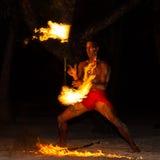Polinezyjczyka pożarniczy tancerz Zdjęcia Royalty Free