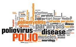 Polio disease. Polio - poliomyelitis or infantile paralysis viral disease. Health care word cloud Stock Images