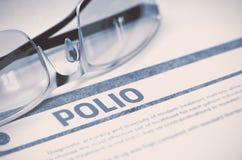 polio Medicinskt begrepp på blå bakgrund illustration 3d Arkivfoton