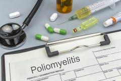 Poliomyelitis, geneesmiddelen en spuiten als concept stock afbeelding