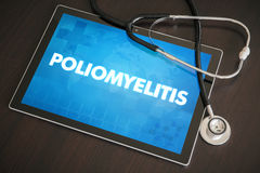 Poliomyelitis (infectious disease) diagnosis medical concept. On tablet screen with stethoscope Royalty Free Stock Images