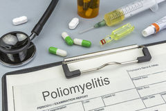 Poliomyelitis, medicines and syringes as concept Stock Image