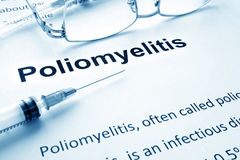 Poliomyelitis. Polio vaccination concept. Paper with diagnosis Poliomyelitis. Polio vaccination concept Royalty Free Stock Image