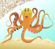 Polipo arancio nell'oceano blu del mare Immagini del fumetto di vettore con il logo del pizzo illustrazione vettoriale