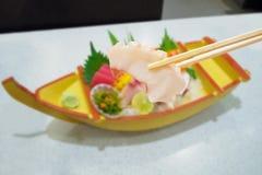 Polipo in bastoncini con l'insieme giapponese del sashimi Fotografia Stock Libera da Diritti