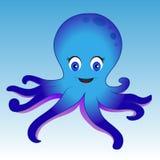 Polipo blu su fondo blu Illustrazione di Stock