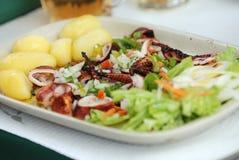 Polipo cotto con la patata e l'insalata Fotografia Stock Libera da Diritti