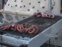 Polipo del ` d del BBQ in Grecia Immagini Stock Libere da Diritti