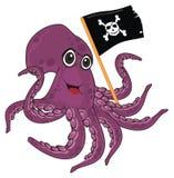 Polipo felice con la bandiera illustrazione vettoriale