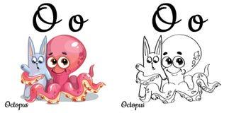 polipo Lettera O, pagina di coloritura di alfabeto di vettore Illustrazione Vettoriale