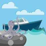 Polipo nel mare che aspetta una barca Fotografie Stock