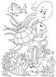Polipo, tartaruga, pesce, granchio di eremita Fotografia Stock