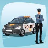 Polis eller polis med bensindrivna bilen Royaltyfri Fotografi