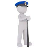 polis för 3d toon i lock med den långa taktpinnen Royaltyfria Bilder