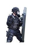 Polis i en gasmask Royaltyfria Foton