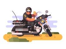 Polis med munken och kaffe på motorcykeln royaltyfri illustrationer