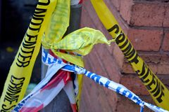 Polis- och brottsplatsband arkivbild