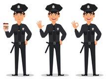Polis polis Uppsättning av snuten för tecknad filmtecken med en kopp kaffe, en vinkande hand och en uppvisning av det ok tecknet royaltyfri illustrationer