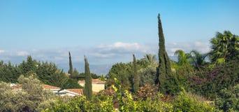 Polisa miasteczko, Śródziemnomorski krajobraz Cypr Obrazy Royalty Free