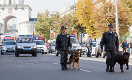 Polisar med hundar i karnevalprocession arkivbild