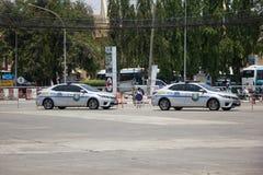 Polisbil av den turist- polisen Toyota Corolla Altis arkivbild