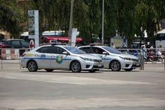 Polisbil av den turist- polisen Toyota Corolla Altis royaltyfria bilder